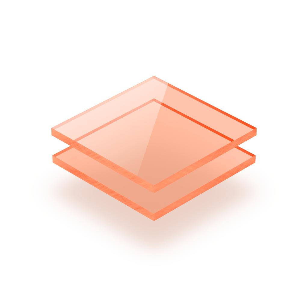 Plaque plexiglass orange fluorescent