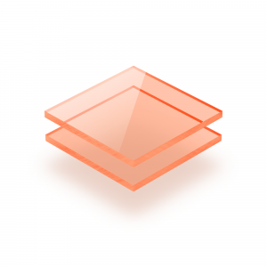 Plaque plexiglass orange fluorescent