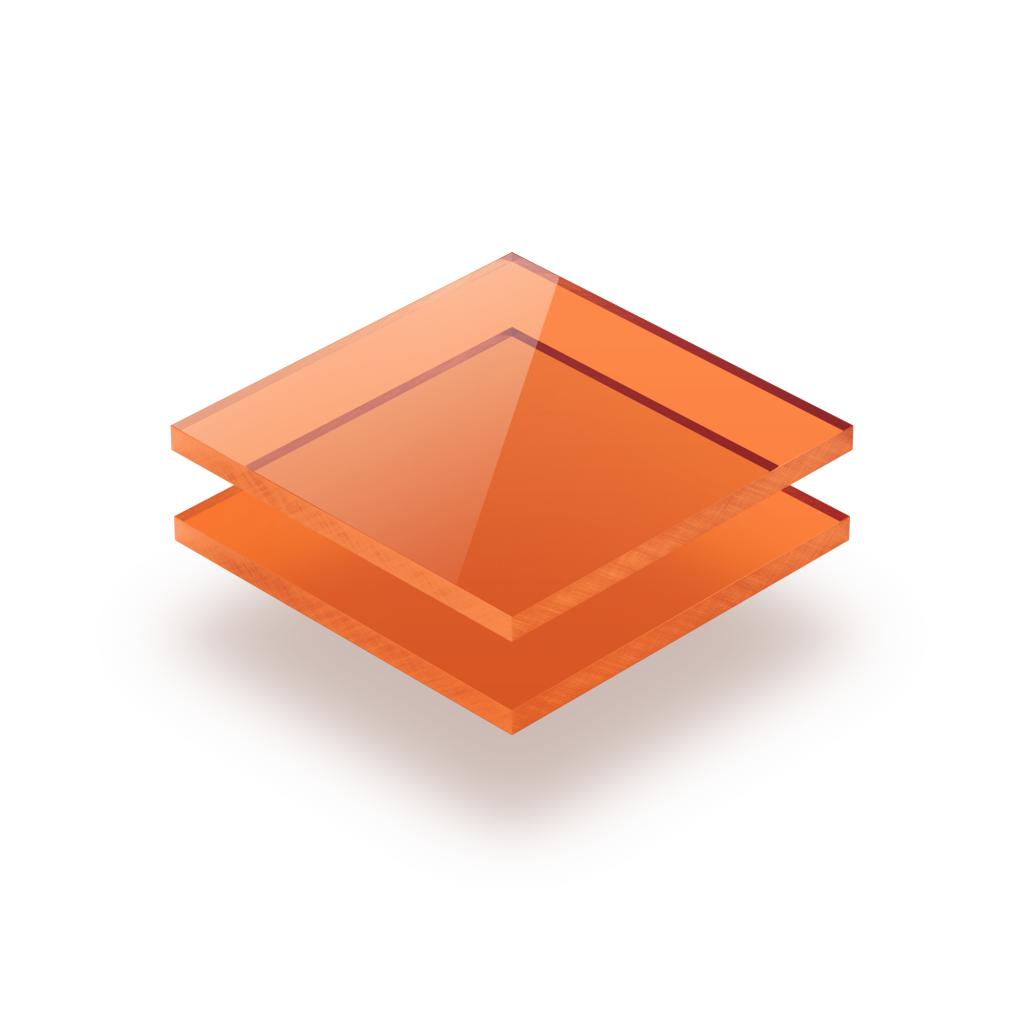 Plaque plexiglass teinté orange 3mm