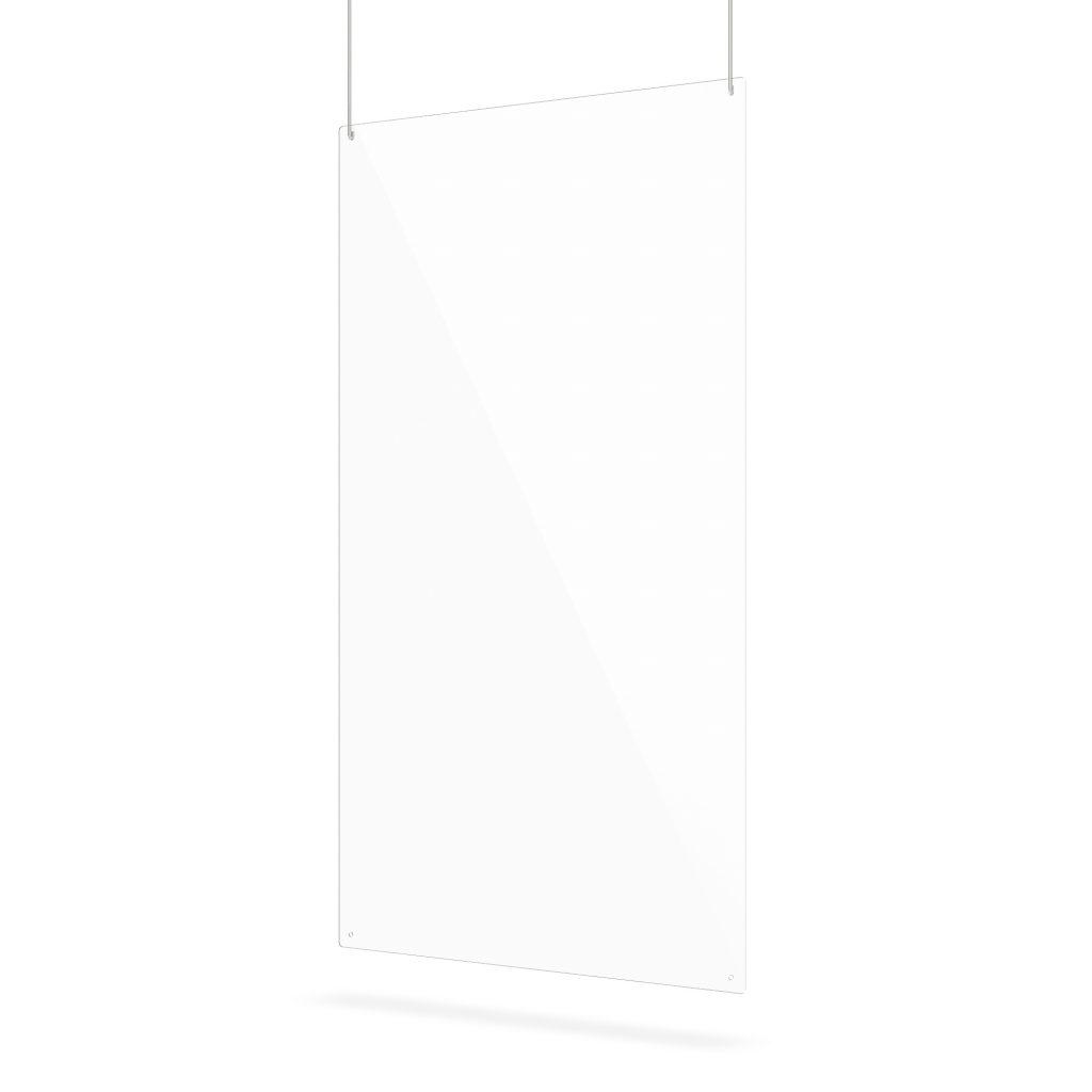 Ecran suspendu en plexiglass transparent avec trous de suspension