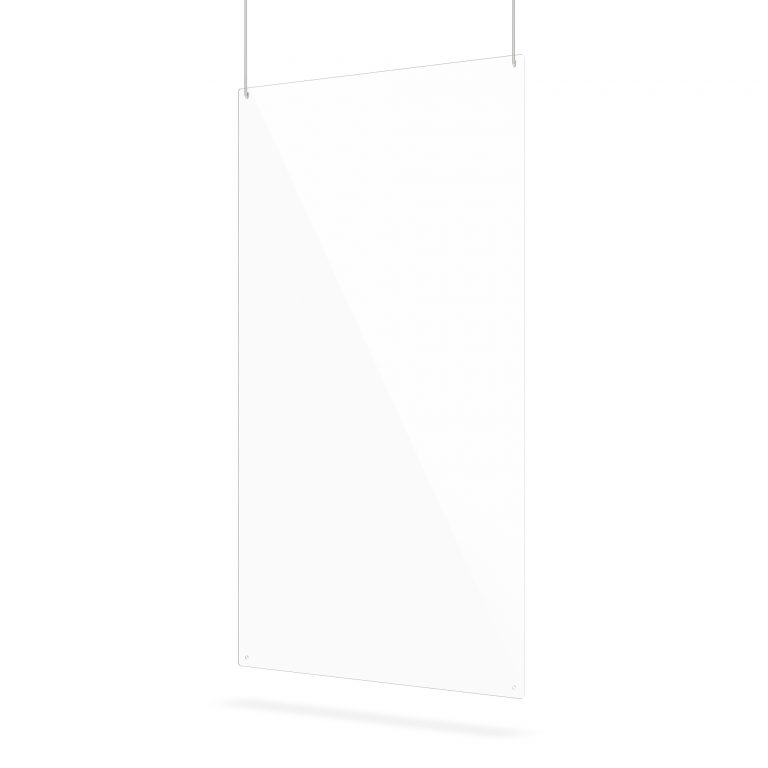Ecran suspendu en plexiglass transparent avec trous de suspension