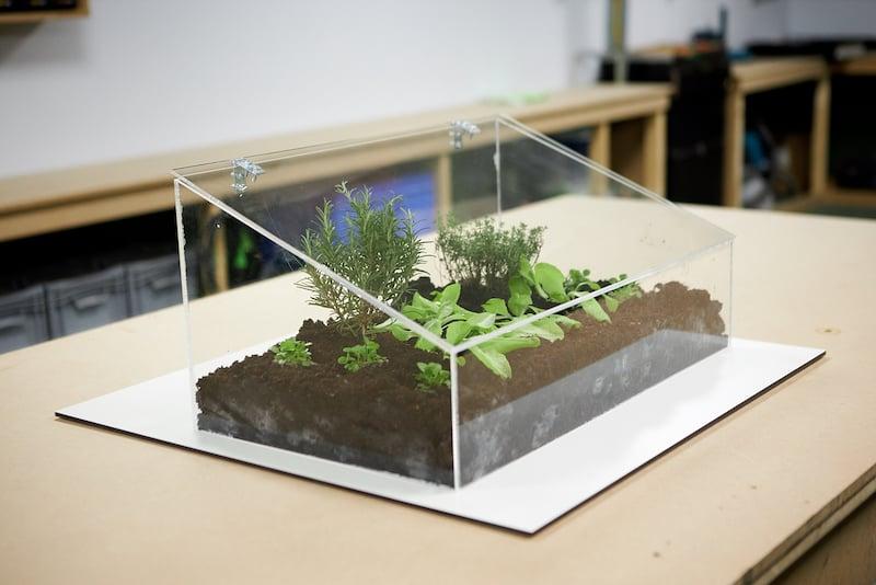 serre miniature en plexiglass